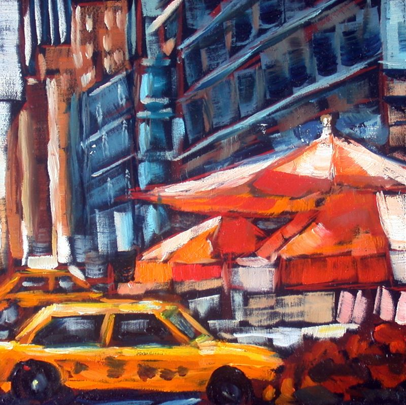 Taxi orange umbrellaas