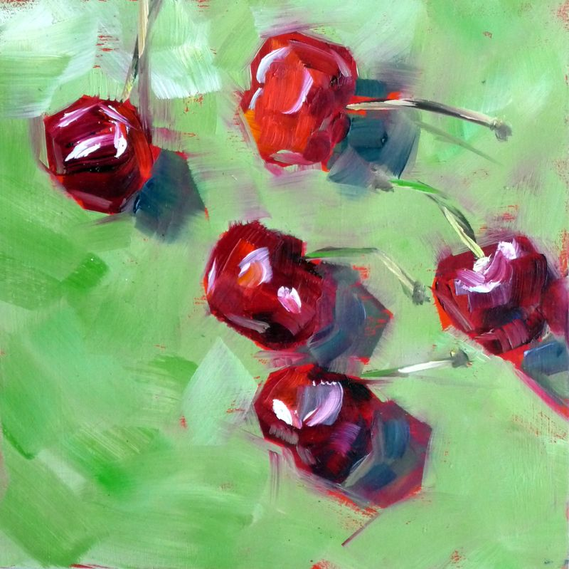 Cherries on green
